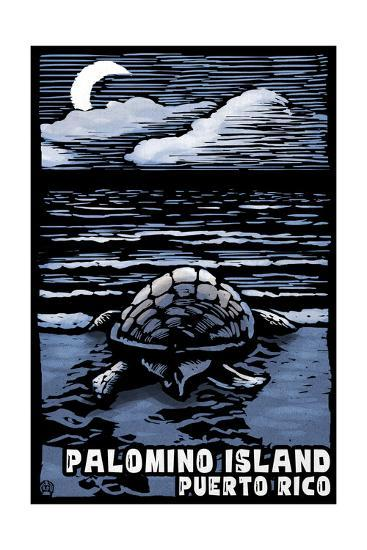 Palomino Island, Puerto Rico - Sea Turtle on Beach - Scratchboard-Lantern Press-Art Print