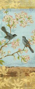 Catbirds & Blooms Panel by Pamela Gladding