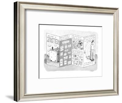 Pamphlet for crazy company called Zostex. - New Yorker Cartoon-Roz Chast-Framed Premium Giclee Print