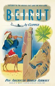 Pan American: Beirut - Lebanon by Clipper c.1950s