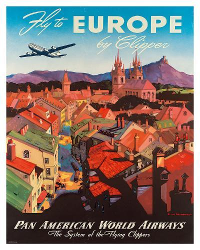 Pan American: Fly to Europe by Clipper, c.1940s-M^ Von Arenburg-Giclee Print