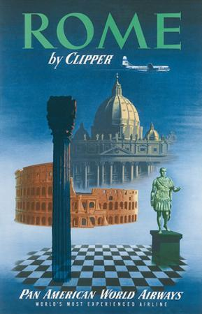 Pan American: Rome by Clipper - Vatican and Coliseum, c.1951