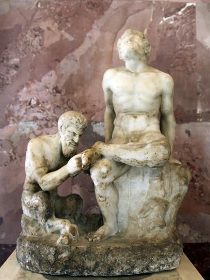 Pan and Satyr, Pan Removing a Splinter from a Satyr's Foot--Photographic Print