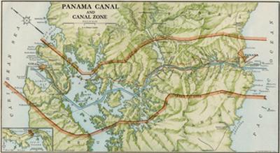 Panama Canal Zone Map, 1913 - north Diagonally Left