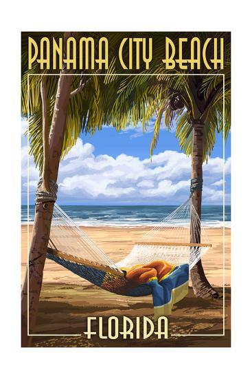 Panama City Beach, Florida - Hammock and Palms-Lantern Press-Art Print