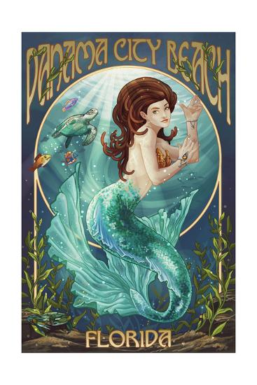 Panama City Beach, Florida - Mermaid-Lantern Press-Art Print