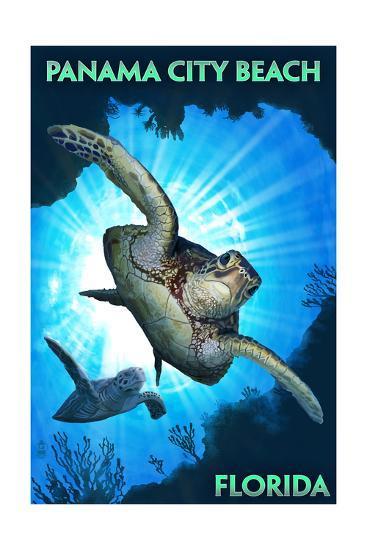 Panama City Beach, Florida - Sea Turtles Diving-Lantern Press-Art Print