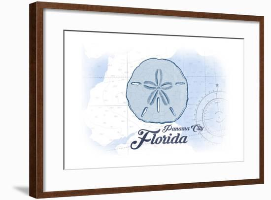 Panama City, Florida - Sand Dollar - Blue - Coastal Icon-Lantern Press-Framed Art Print