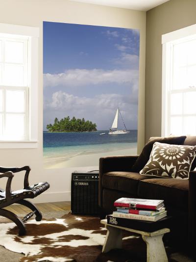 Panama, Comarca de Kuna Yala, San Blas Islands, Beach and Sailing Boat-Jane Sweeney-Wall Mural