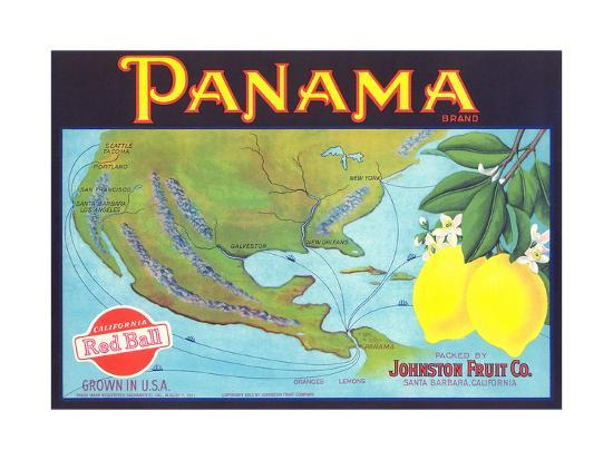Panama Lemon Label--Art Print