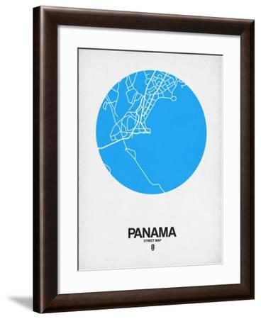 Panama Street Map Blue-NaxArt-Framed Art Print