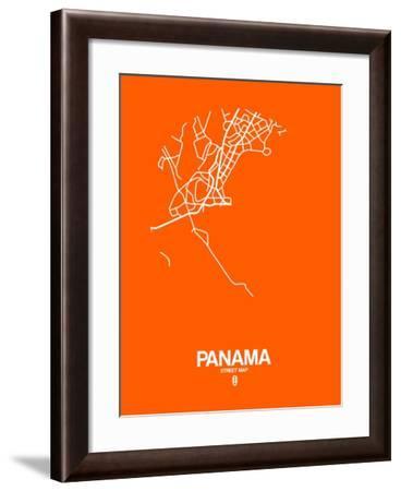 Panama Street Map Orange-NaxArt-Framed Art Print