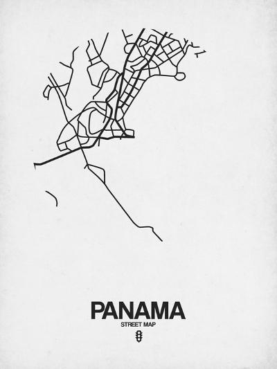 Panama Street Map White-NaxArt-Art Print