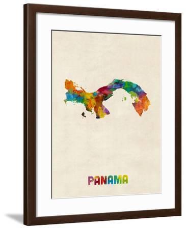 Panama Watercolor Map-Michael Tompsett-Framed Art Print