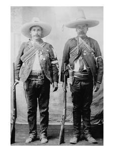Pancho Villa's Men Urbino and Iluarte Stand at Attention with Rifles, Bandoliers and Pistols
