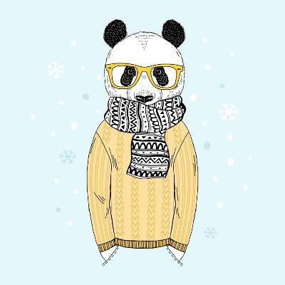Panda Dressed up in Jacquard Pullover-Olga_Angelloz-Art Print