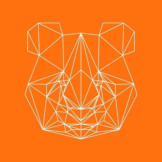 Panda on Orange-Lisa Kroll-Premium Giclee Print