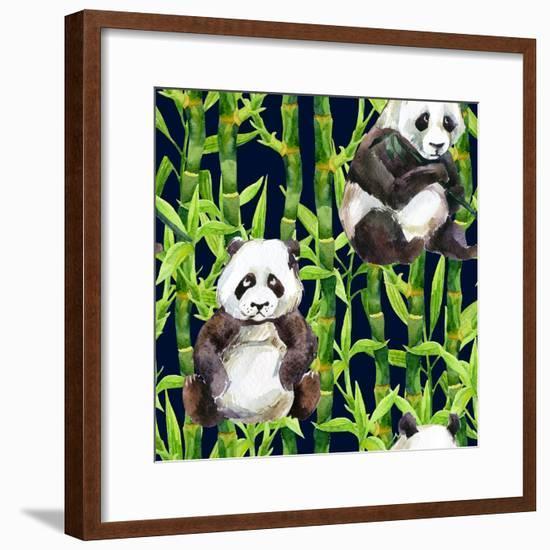 Pandas with Bamboo-tanycya-Framed Premium Giclee Print