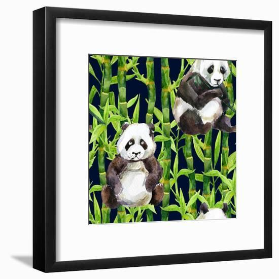Pandas with Bamboo-tanycya-Framed Art Print