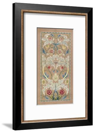 Panel of floral embroidery, circa 1875 –80-William Morris-Framed Art Print