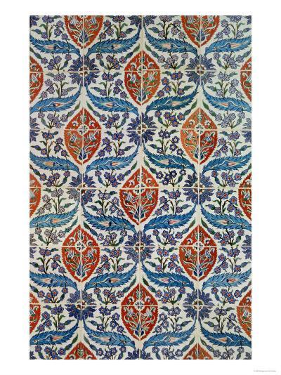 Panel of Isnik Earthenware Tiles from the Baths of Eyup Eusaki, Istanbul, circa 1550-1600--Giclee Print