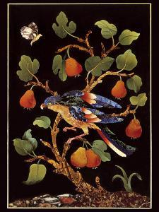 Panel with Parrot on Pear Tree