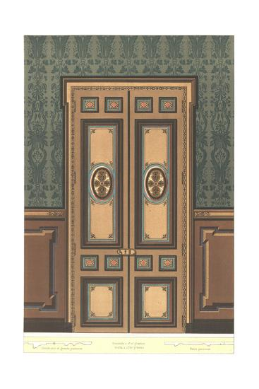 Paneled Door with Stylized Floral Decorations on Dark Wall--Art Print