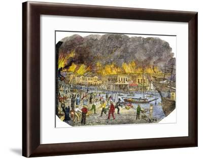 Panic on the Waterfront During a Great Fire in San Francisco, 1851--Framed Giclee Print