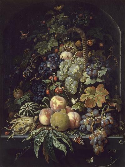 Panier de fleurs, fruits et insectes dans une niche-Abraham Mignon-Giclee Print