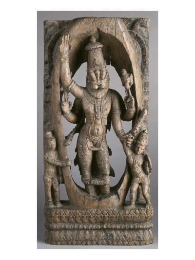 Panneau de char de procession : Narasimha sortant de la colonne et saisissant l'impie Hirayakasipu--Giclee Print