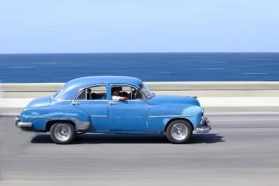 Panned' Shot of Old Blue American Car to Capture Sense of Movement-Lee Frost-Photographic Print