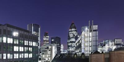 Panorama, City of London, Swiss-Re-Tower, 30 St. Mary Axe, England, Great Britain-Axel Schmies-Photographic Print