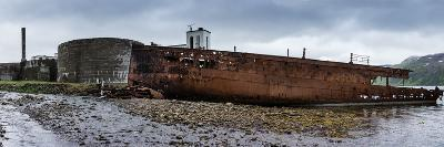 Panorama, Iceland, Djupavik, Former Fish Factory and Ship Wreck-Catharina Lux-Photographic Print