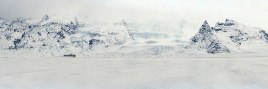 Panorama Image of Mountain Range and Glacier Toungues Covered in Snow-Raul Touzon-Photographic Print
