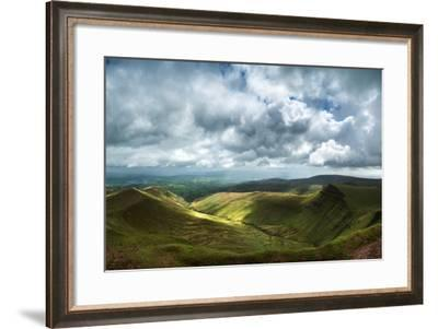 Panorama Landscape Image of View from Peak of Pen-Y-Fan in Brecon Beacons-Veneratio-Framed Photographic Print