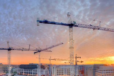 Panorama of a Building Site in Washington, District of Columbia, at Sunset-Sam Kittner-Photographic Print