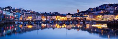 Panorama of Brixham Harbour at Sunset. Devon England UK-Ian Woolcock-Photographic Print
