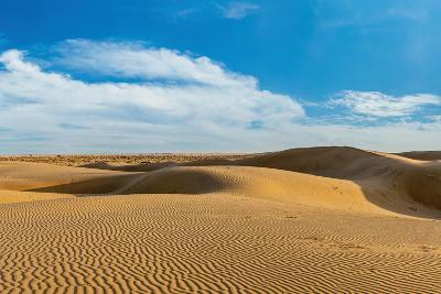 Panorama of Dunes Landscape with Dramatic Clouds in Thar Desert. Sam Sand Dunes, Rajasthan, India-f9photos-Photographic Print