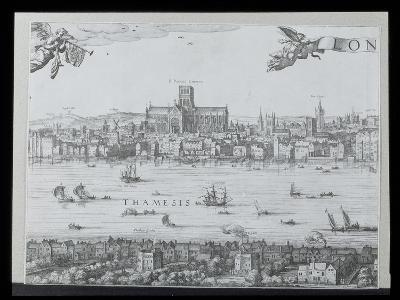 Panorama of London and the Thames, Part Two Showing St. Paul's Cathedral and the Globe Theatre,…-Nicolaes Jansz Visscher-Giclee Print
