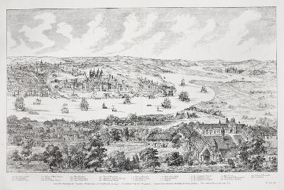 Panorama of London, Westminster and Southwark, Illustration from 'Maps of Old London', 1543-Anthonis van den Wyngaerde-Giclee Print