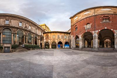 Panorama of Palazzo Della Ragione and Piazza Dei Mercanti in the Morning, Milan, Italy-anshar-Photographic Print