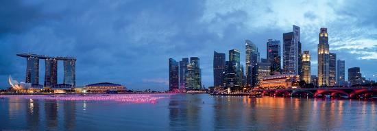 Panorama of Singapore Skyline and River--Art Print