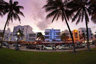 Panorama of the Art Deco Hotels, Ocean Drive at Dusk, Miami South Beach, Art Deco District, Florida-Axel Schmies-Photographic Print
