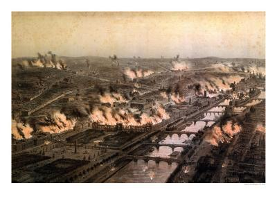 Panorama of the Fires in Paris During the Commune, May 1871-E. Daroy-Giclee Print