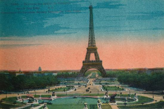 Panorama of the Jardins du Trocadéro and the Eiffel Tower, Paris, c1920-Unknown-Giclee Print