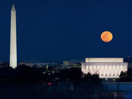 Panorama of the March 19, 2011 Super Moon at Perigee Full Moon-Greg Dale-Photographic Print