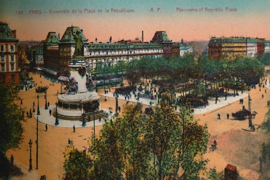 Panorama of the Place de la Republique, Paris, c1920-Unknown-Giclee Print