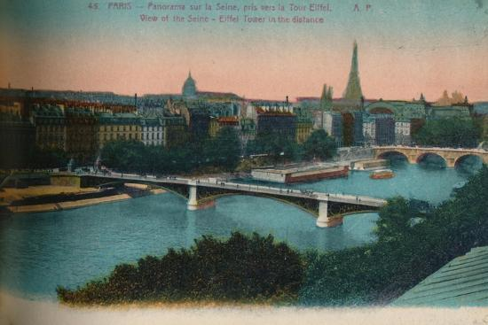 Panorama of the River Seine with the Eiffel Tower in the distance, Paris, c1920-Unknown-Giclee Print