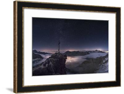 Panorama of the Summit on Pockkogel in Kuhtai with Moonlight During the Lunar Eclipse-Niki Haselwanter-Framed Photographic Print