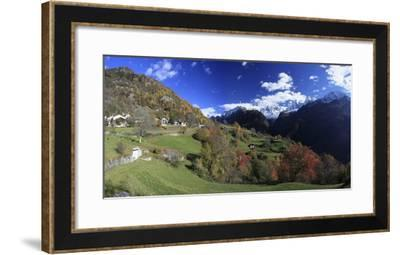 Panorama of the Village of Soglio Surrounded by Colorful Woods, Bregaglia Valley-Roberto Moiola-Framed Photographic Print